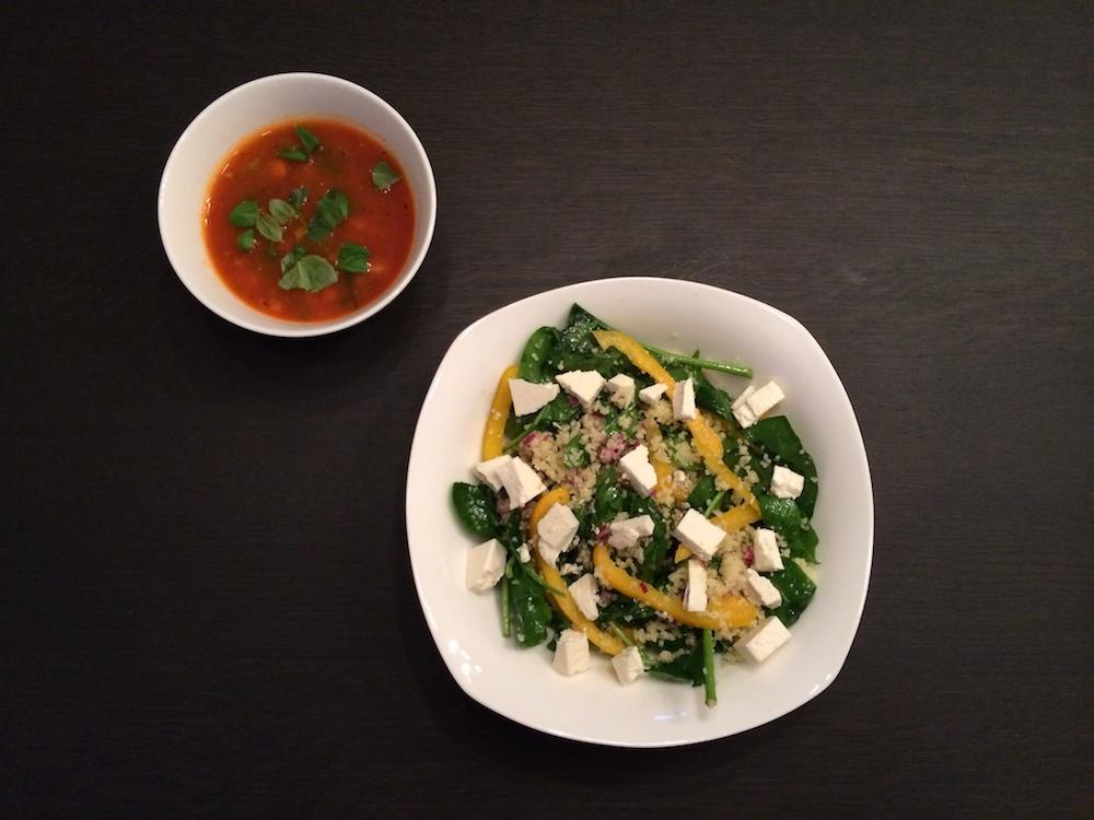 Spinazie, ui, paprika, feta en couscous