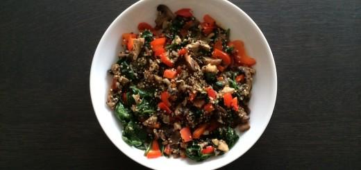 quinoa_spinazie_basilicum_champignons_sjalot_knoflook_paprika